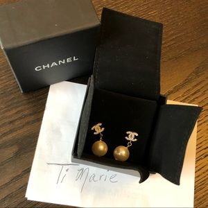 Chanel pearl drop crystal earrings